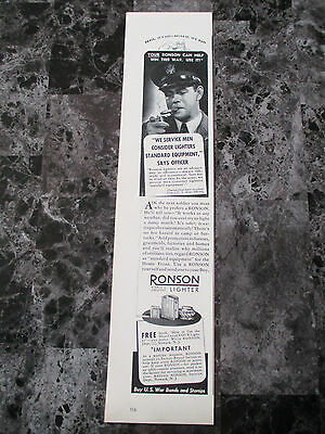 "Vintage 1942 Ronson Lighters Wartime Print Ad, 13.875"" X 3.125"""