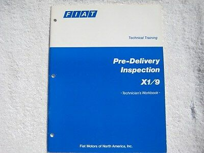 1981 Fiat X1/9 pre-delivery inspection technician's workbook