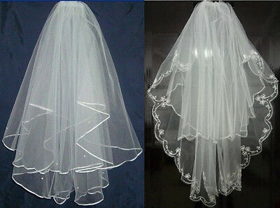 White/Ivory Wedding Gown 2T Satin Edge Lace Beads Bridal Veil With Comb Elbow