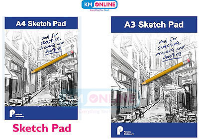 Sketch Pad A3/A4 Bright White Paper Artist Sketching Drawing Doodling Art Craft