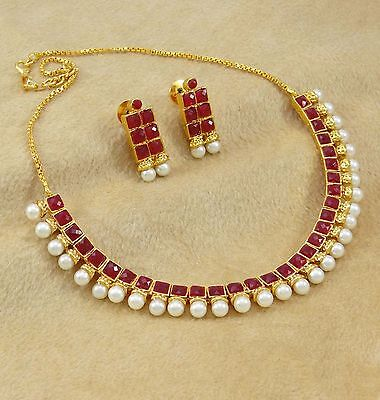 Gold Plated Necklace Earrings Set Indian Traditional Wedding Bridal Jewelry
