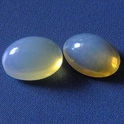 Wonderful Natural Iridescent White Opal Loose Gemstones (Pair) Oval Cabochon