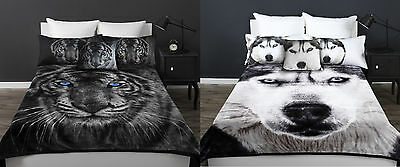 Thick Warm White Tiger or Husky Wolf Mink Blanket Double Sided Super Soft New