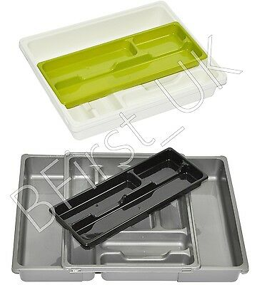 Plastic Adjustable Expanding Drawer Organiser Cutlery Utensil Tray Storage Rack