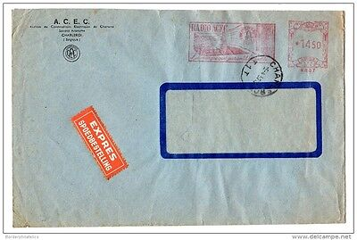 Belgium 1952 Express Commercial Cover with Window Radio ACEC Meter Paid X2332