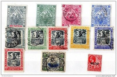 Barbados QV/KGEII/KGV 1897/1917 Collection of 12 To 1/- VFU X2174