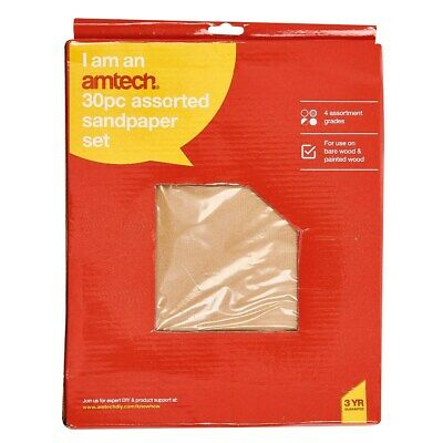 30 Sheet Assorted Sand Paper Mixed Course Medium Fine Extra Fine Sandpaper S3850