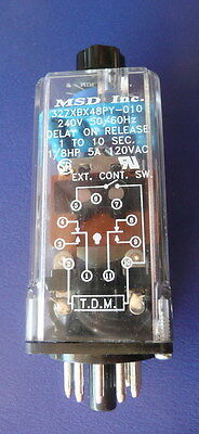 New MSD Time Delay Relay, Model 327XBX48PY-010, 1 - 10sec, 240vac Coil 50/60
