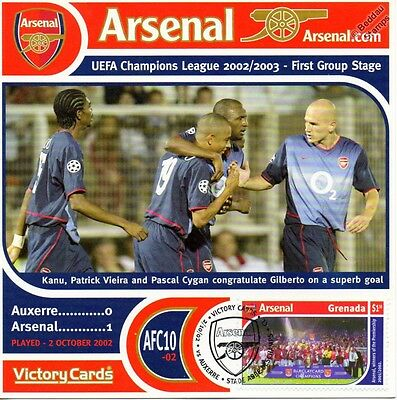Arsenal 2002-03 Auxerre (Gilberto & Vieira) Football Stamp Victory Card #210