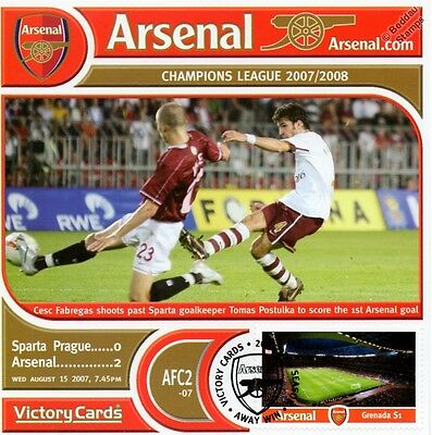 Arsenal 2007-08 Sparta Prague (Cesc Fabregas) Football Stamp Victory Card #702