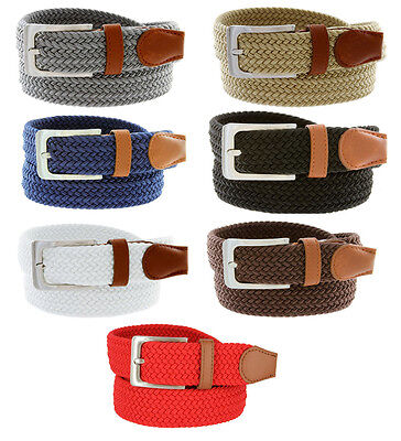 """Men's 7001G Fabric Leather Elastic Woven Golf Stretch Belt 1-3/8"""" Wide Nwt"""