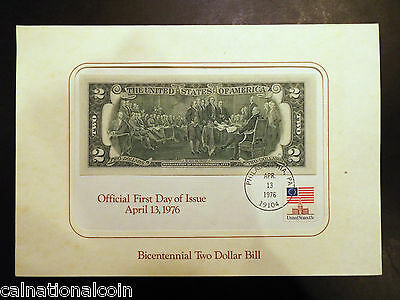 Bicentennial Two Dollar Bill Official First Day of Issue April 13, 1976