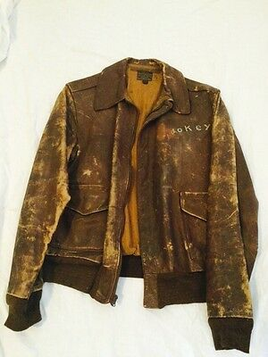 Vtg WWII Army Air Force A-2 Leather Flight Bomber Jacket 42 L