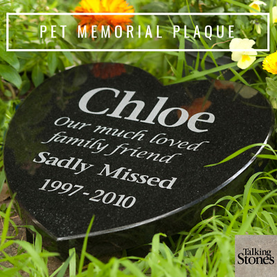 Memorial Plaque - Granite Heart shaped  - Personalised - Made to Order