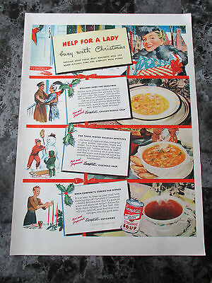 "Vintage 1942 Campbells Consomme Soup Christmas Print Ad, 14"" X 10.2"""