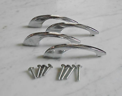 4 Vintage Sleek Retro Mid Century Chrome Cabinet Drawer Pull Handles - 4 3/8inch