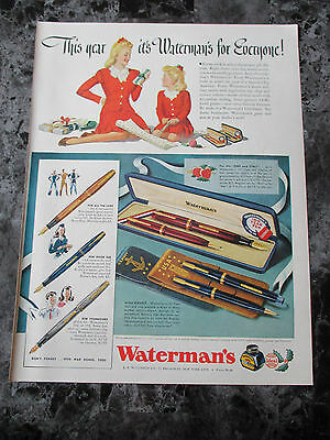 "Vintage 1942 Waterman's Pens Xmas War Themed Print Ad, 13.25"" X 10.125"""