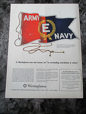 "Vintage 1942 Westinghouse Electric Army Navy Print Ad, 13.75"" X 10.25"""