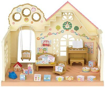 Sylvanian Families Forest Nursery The Nursery With Big Tree & Pink Delta Roof.