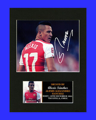 Alexis Sánchez Arsenal Quality signed Mounted Pre-Print 8 x 6in A5 brand new
