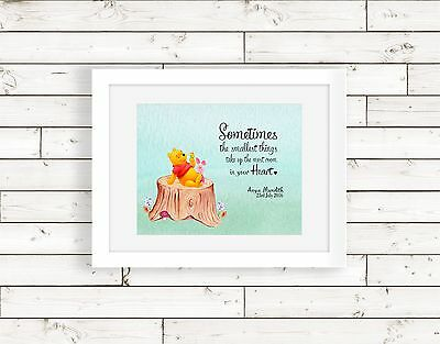 Personalised New Baby Winnie the Pooh Birth Nursery Print Name Christening Gift
