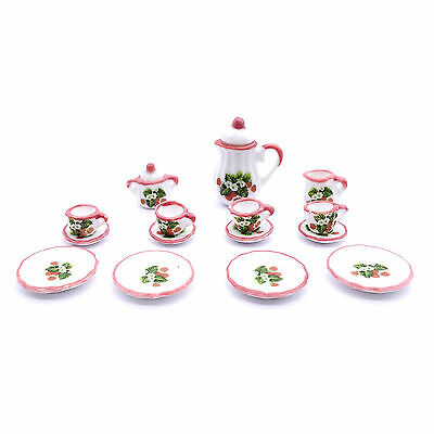 Set Dollhouse Miniature Furniture Porcelain Tableware Cup Tea Set Strawberry C