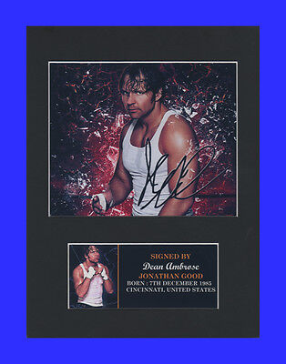 Dean Ambrose WWE WWF Quality signed Mounted Pre-Print 8 x 6in A5