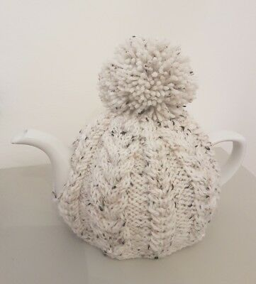 Hand Knitted Aran Tea Cosy - Starling (Cream Fleck)