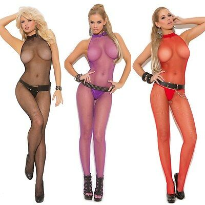 Fishnet Halter Bodystocking Lingerie One Size Regular or One Size Queen EM1609