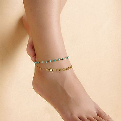 New Womans Multilayer Gold Colour Ankle Chain Sequin/Coin & Turquoise Bead UK