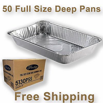 50 Full Size Deep Aluminum Steam Table Pan Disposable Party Trays 5130PSS