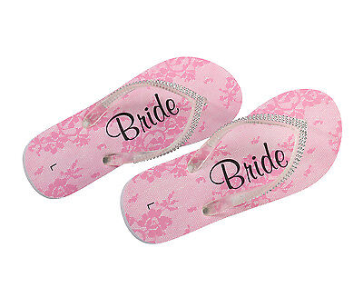 New!!wedding Bride & Bridal Party Flip Flops -Pink & White Diamond-Like Studded!