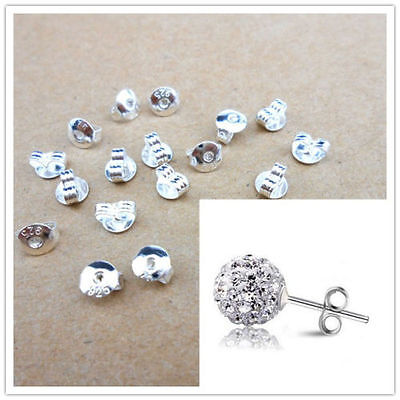 50pcs Quality.925 Sterling Silver BACK STOPPER for Earring Jewelry Findings LOTS