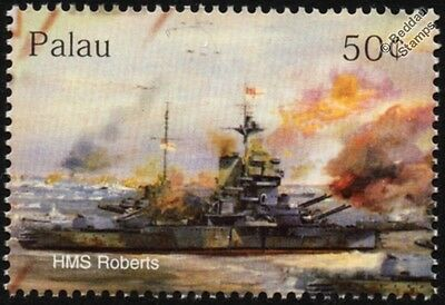 WWII HMS ROBERTS (F40) Royal Navy Roberts-Class Monitor D-Day Warship Stamp
