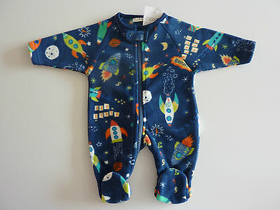 NEXT Gorgeous Little Blue Fleecy SPACESHIP Sleepsuit NWT