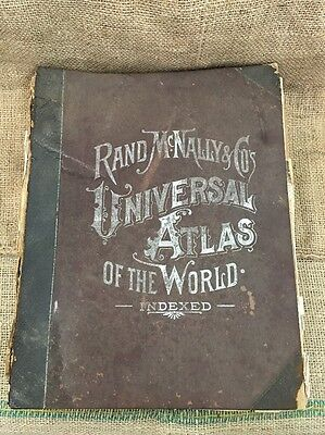 """1896 Rand, McNally & Co.'s Indexed Universal Atlas Of The World. 11.5""""x14"""""""