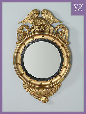 Antique Georgian Regency Carved Gilt Wood Eagle Convex Butlers Round Wall Mirror