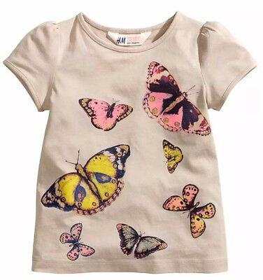H M Girls Shirt Top w/ Butterfly Butterflies Multi-Colored Size 2 3 4 NWOT