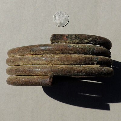 an old coiled copper alloy african currency bracelet from nigeria #58