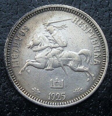 Lithuania 1925 One Silver Litas XF G2176