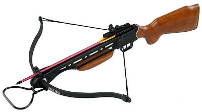Authentic Man Kung Fiberglass Bow Wooden Stock Crossbow - 150lbs Draw Weight