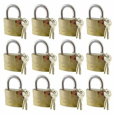 12 x 38mm Shackle Brass Padlock / Security / Lock Gate Door Shed AT031