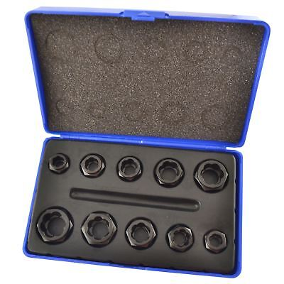 10pc Nut Style Bolt Twist Socket / Wheel Lock Nut Remover / Extractor Set AT027