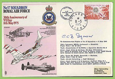 G.B./France 1975 No 57 Squadron, VE Day Anniversary RAF Flown & Signed cover
