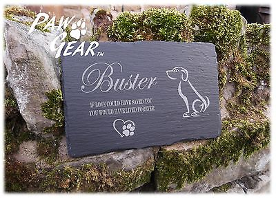 Memorial Plaque Personalised Engraved Natural Slate Dog Design Pet Grave Marker