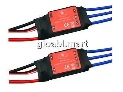 2x 30A SimonK RC Brushless ESC With BEC 3A For 4&6-Axis Quadcopter Multicopter