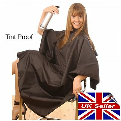 Tint Proof Hairdressing Cape Gown Black Popper Stud Fastening Large Size H Tools