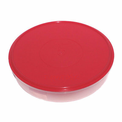Tupperware NEW Large Round Pie Cup Cake PastryTaker Keeper B2B Sheer / Red