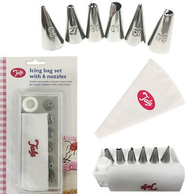 Icing Piping Bag Set 6 Nozzle Decorating Cupcake Cake Pastry Decor Tool Baking