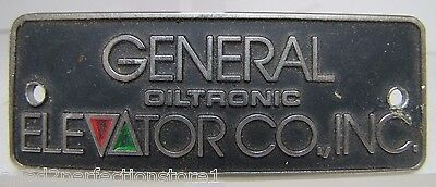 Vintage General Elevator Co Oiltronic Advertising Sign Metal Equipment Plaque
